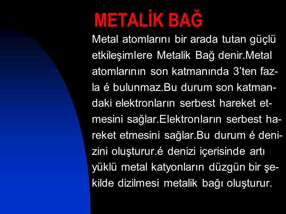 METALİK BAĞ Metal atomlarını bir arada tutan güçlü etkileşimlere Metalik Bağ denir.Metal atomlarının son katmanında 3'ten faz- la é bulunmaz.Bu durum