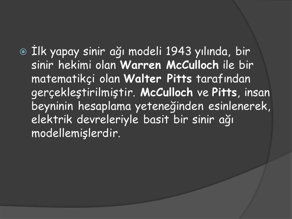  İlk yapay sinir ağı modeli 1943 yılında, bir sinir hekimi olan Warren McCulloch ile bir matematikçi olan Walter Pitts tarafından gerçekleştirilmişti