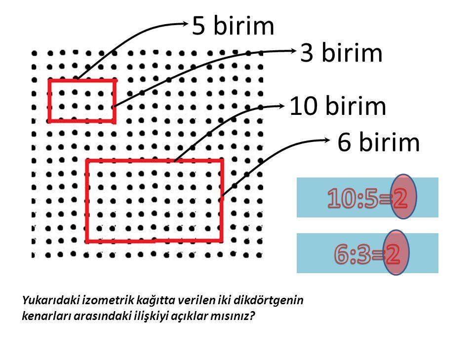 5 birim 10 birim 3 birim 6 birim Yukarıdaki izometrik kağıtta verilen iki dikdörtgenin kenarları arasındaki ilişkiyi açıklar mısınız?