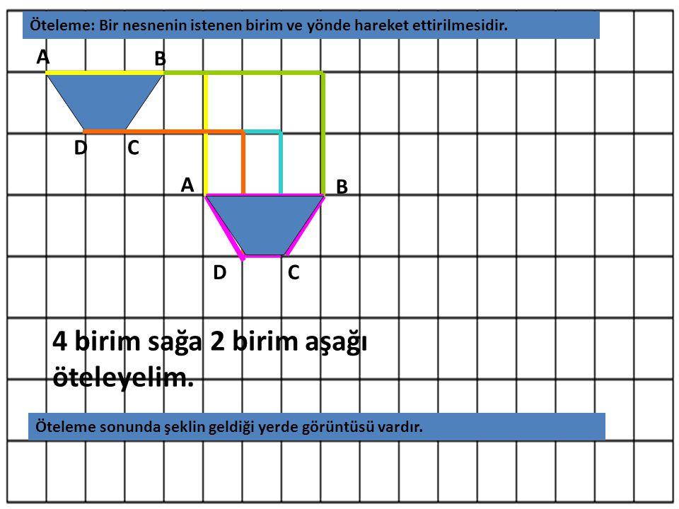 A B CD 4 birim sağa 2 birim aşağı öteleyelim. A B CD Öteleme: Bir nesnenin istenen birim ve yönde hareket ettirilmesidir. Öteleme sonunda şeklin geldi