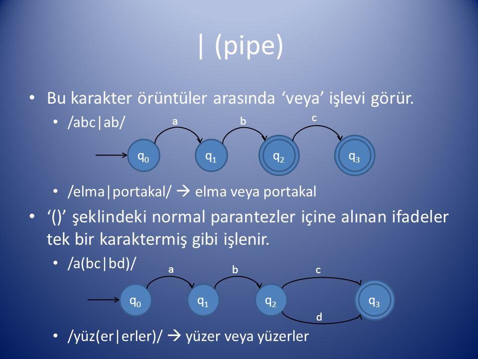 | (pipe) Bu karakter örüntüler arasında 'veya' işlevi görür. /abc|ab/ /elma|portakal/  elma veya portakal '()' şeklindeki normal parantezler içine al