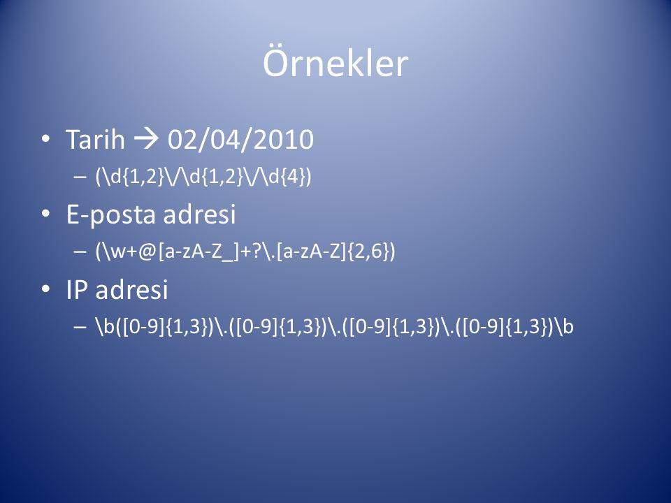 Örnekler Tarih  02/04/2010 – (\d{1,2}\/\d{1,2}\/\d{4}) E-posta adresi – (\w+@[a-zA-Z_]+?\.[a-zA-Z]{2,6}) IP adresi – \b([0-9]{1,3})\.([0-9]{1,3})\.([