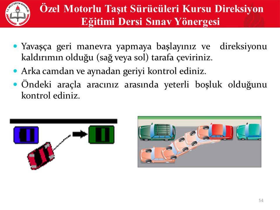54 Özel Motorlu Taşıt Sürücüleri Kursu Direksiyon Eğitimi Dersi Sınav Yönergesi Yavaşça geri manevra yapmaya başlayınız ve direksiyonu kaldırımın olduğu (sağ veya sol) tarafa çeviriniz.