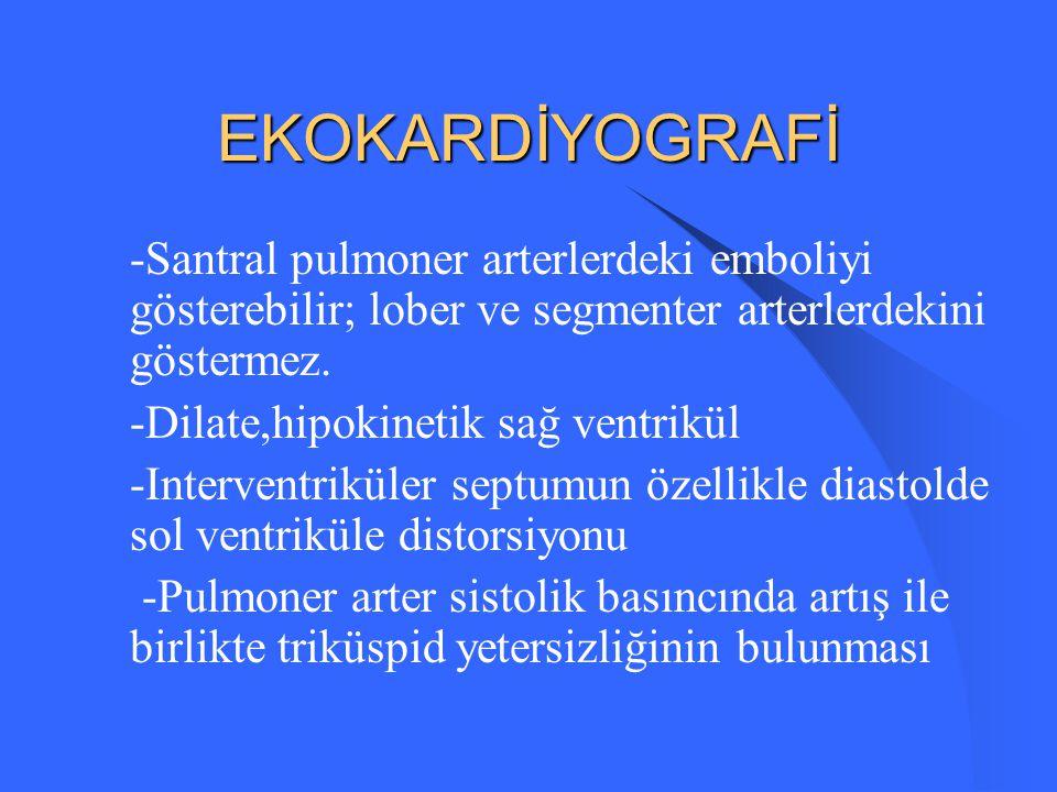 ARTER KAN GAZLARI Akut emboli: Hipokapni Respiratuar alkaloz Masif emboli: PaO2 düşer Submasif: Normal veya normale yakın