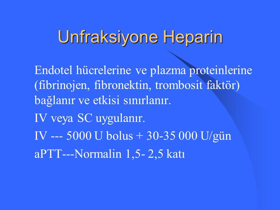 Tedavi (III) Anticoagulan Tedavi: - Unfraksiyone heparin - Düşük molekül ağırlıklı heparin - Tromboliz - Pulmoner embolektomi