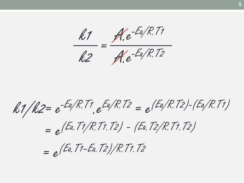 k1 A.e -Ea/R.T1 k2 A.e -Ea/R.T2 k1/k2= e -Ea/R.T1.e Ea/R.T2 = e (Ea/R.T2)-(Ea/R.T1) = e (Ea.T1/R.T1.T2) – (Ea.T2/R.T1.T2) = e (Ea.T1–Ea.T2)/R.T1.T2 =