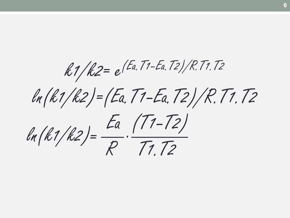 k1/k2= e (Ea.T1–Ea.T2)/R.T1.T2 ln(k1/k2)=(Ea.T1–Ea.T2)/R.T1.T2 Ea (T1–T2) R T1.T2 =. ln(k1/k2) 6