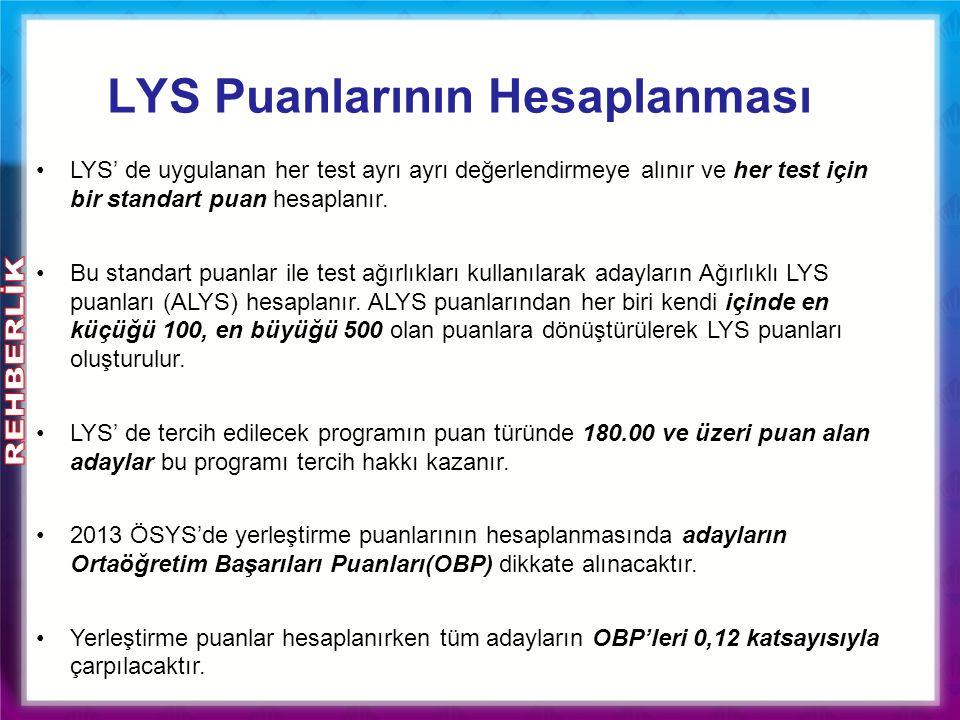 LYS' de uygulanan her test ayrı ayrı değerlendirmeye alınır ve her test için bir standart puan hesaplanır. Bu standart puanlar ile test ağırlıkları ku