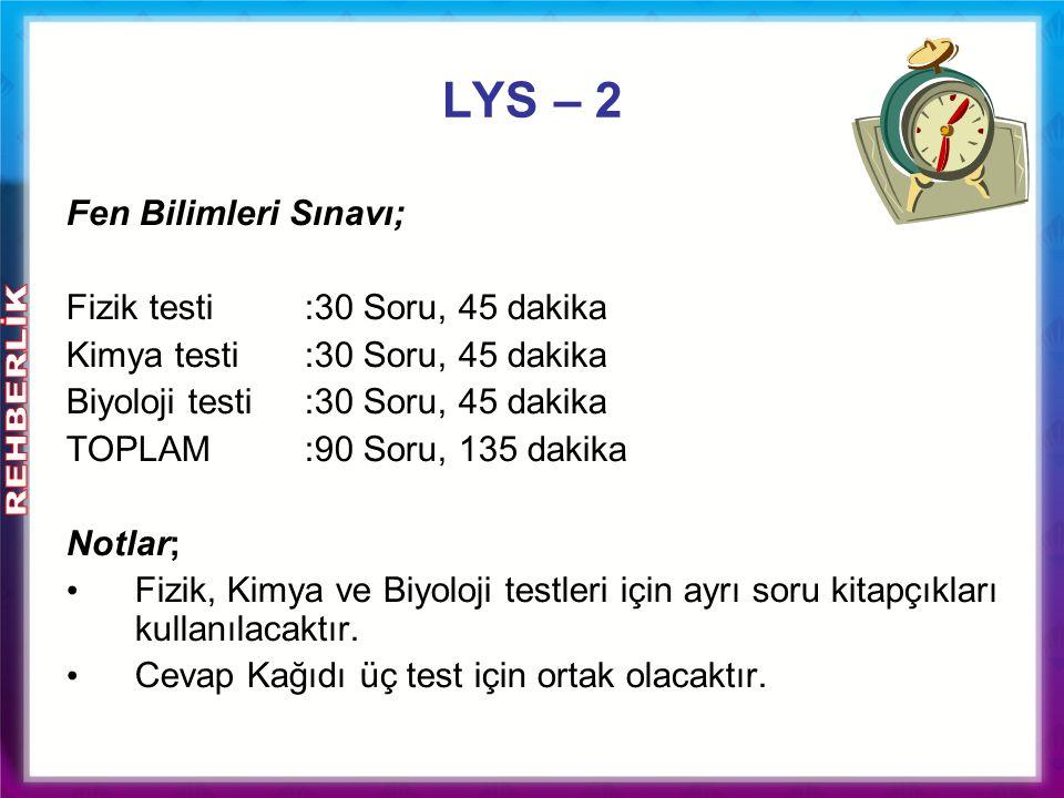 Fen Bilimleri Sınavı; Fizik testi:30 Soru, 45 dakika Kimya testi:30 Soru, 45 dakika Biyoloji testi:30 Soru, 45 dakika TOPLAM :90 Soru, 135 dakika Notl
