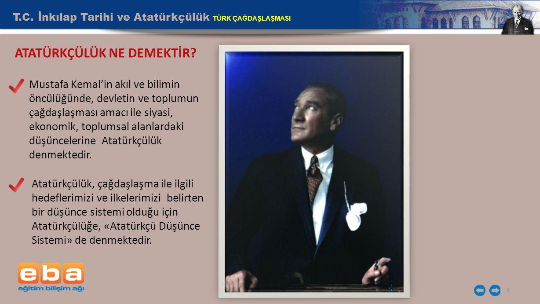 T.C. İnkılap Tarihi ve Atatürkçülük TÜRK ÇAĞDAŞLAŞMASI 3 ATATÜRKÇÜLÜK NE DEMEKTİR? Mustafa Kemal'in akıl ve bilimin öncülüğünde, devletin ve toplumun