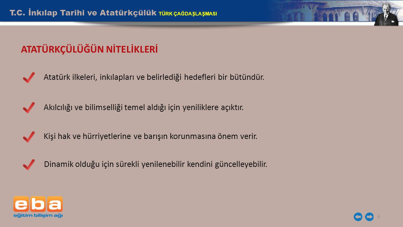 T.C. İnkılap Tarihi ve Atatürkçülük TÜRK ÇAĞDAŞLAŞMASI 6 Atatürk ilkeleri, inkılapları ve belirlediği hedefleri bir bütündür. Kişi hak ve hürriyetleri