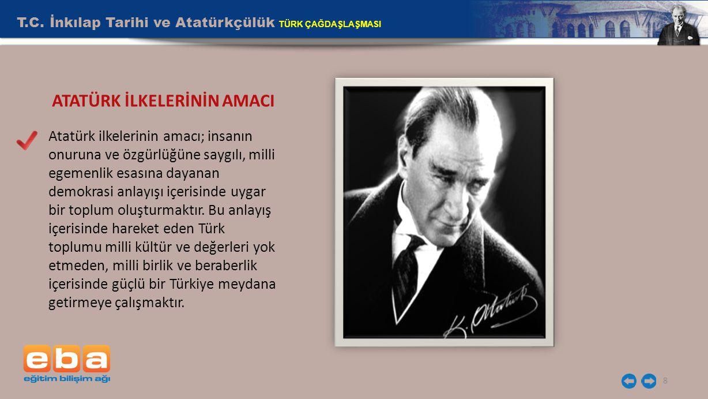 T.C. İnkılap Tarihi ve Atatürkçülük TÜRK ÇAĞDAŞLAŞMASI 8 Atatürk ilkelerinin amacı; insanın onuruna ve özgürlüğüne saygılı, milli egemenlik esasına da