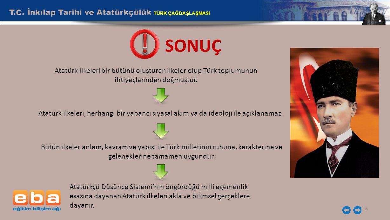 9 SONUÇ Atatürk ilkeleri bir bütünü oluşturan ilkeler olup Türk toplumunun ihtiyaçlarından doğmuştur. Atatürk ilkeleri, herhangi bir yabancı siyasal a