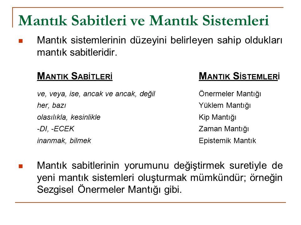 Mantık Sabitleri ve Mantık Sistemleri Mantık sistemlerinin düzeyini belirleyen sahip oldukları mantık sabitleridir.