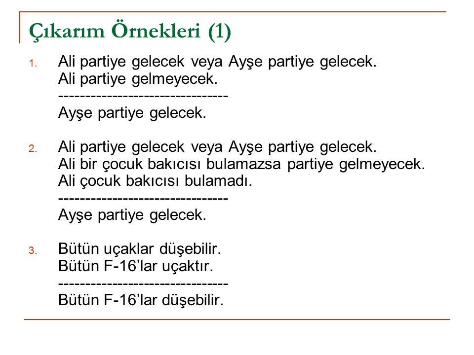 Çıkarım Örnekleri (1) 1.Ali partiye gelecek veya Ayşe partiye gelecek.