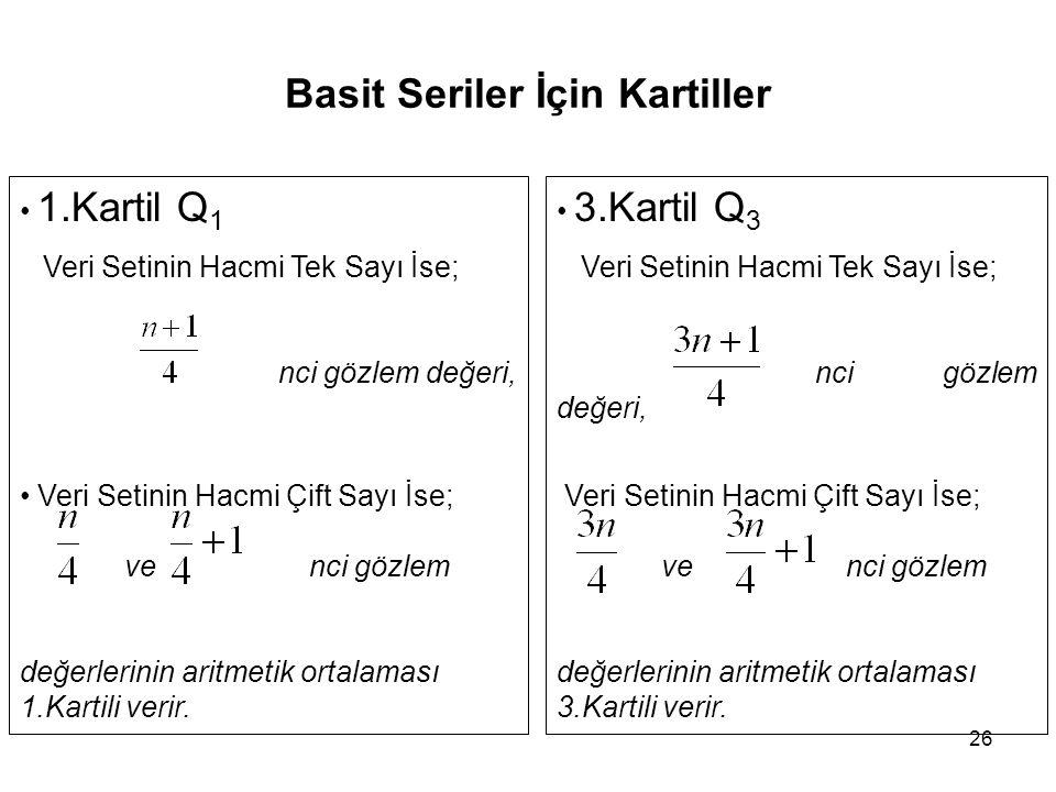 26 Basit Seriler İçin Kartiller 1.Kartil Q 1 Veri Setinin Hacmi Tek Sayı İse; nci gözlem değeri, Veri Setinin Hacmi Çift Sayı İse; ve nci gözlem değerlerinin aritmetik ortalaması 1.Kartili verir.