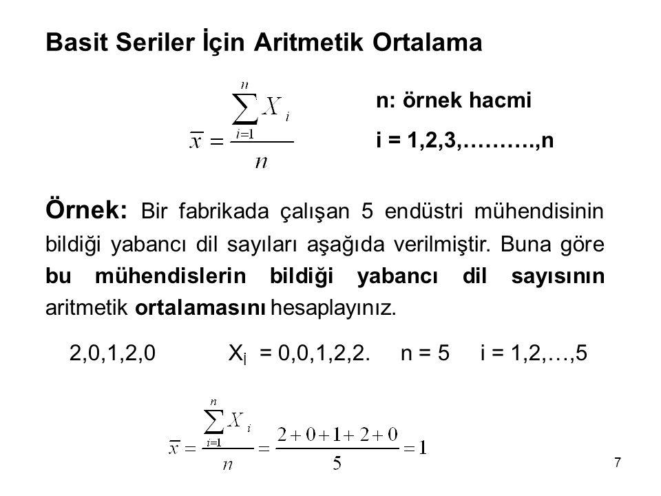 7 Basit Seriler İçin Aritmetik Ortalama n: örnek hacmi i = 1,2,3,……….,n Örnek: Bir fabrikada çalışan 5 endüstri mühendisinin bildiği yabancı dil sayıları aşağıda verilmiştir.