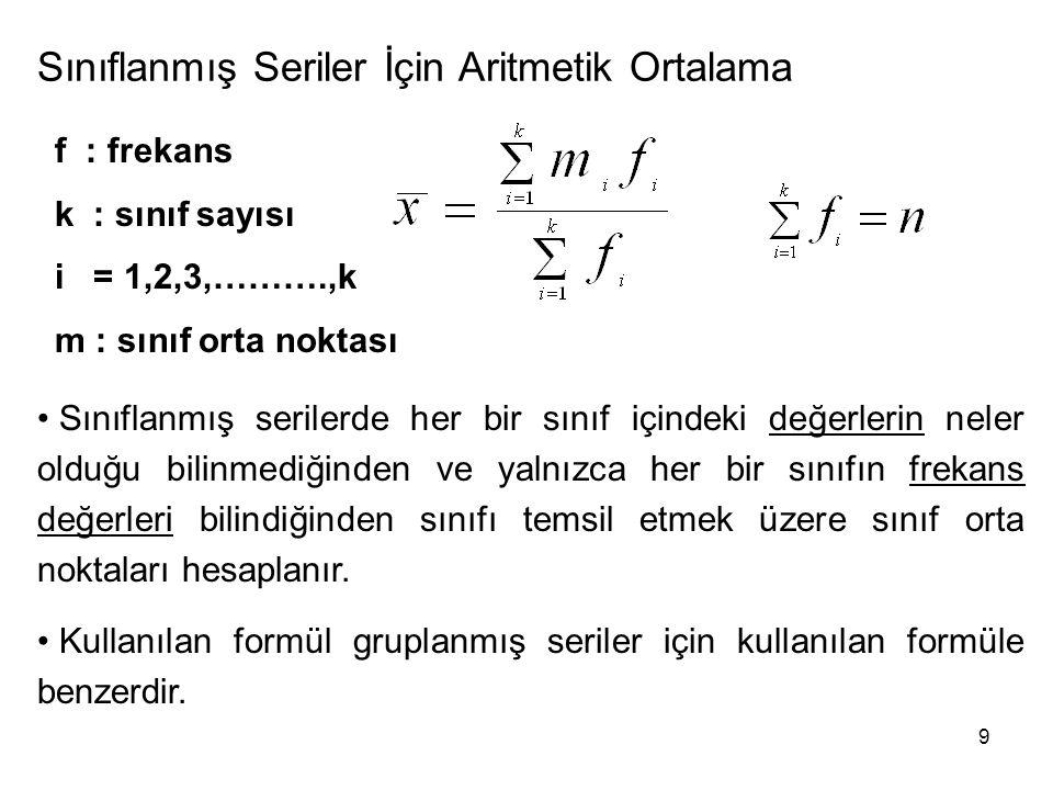9 Sınıflanmış Seriler İçin Aritmetik Ortalama f : frekans k : sınıf sayısı i = 1,2,3,……….,k m : sınıf orta noktası Sınıflanmış serilerde her bir sınıf içindeki değerlerin neler olduğu bilinmediğinden ve yalnızca her bir sınıfın frekans değerleri bilindiğinden sınıfı temsil etmek üzere sınıf orta noktaları hesaplanır.
