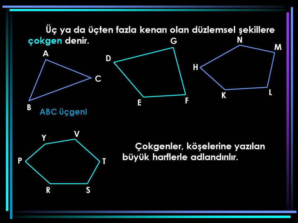 Üç ya da üçten fazla kenarı olan düzlemsel şekillere çokgen denir. ABC üçgeni Çokgenler, köşelerine yazılan büyük harflerle adlandırılır.