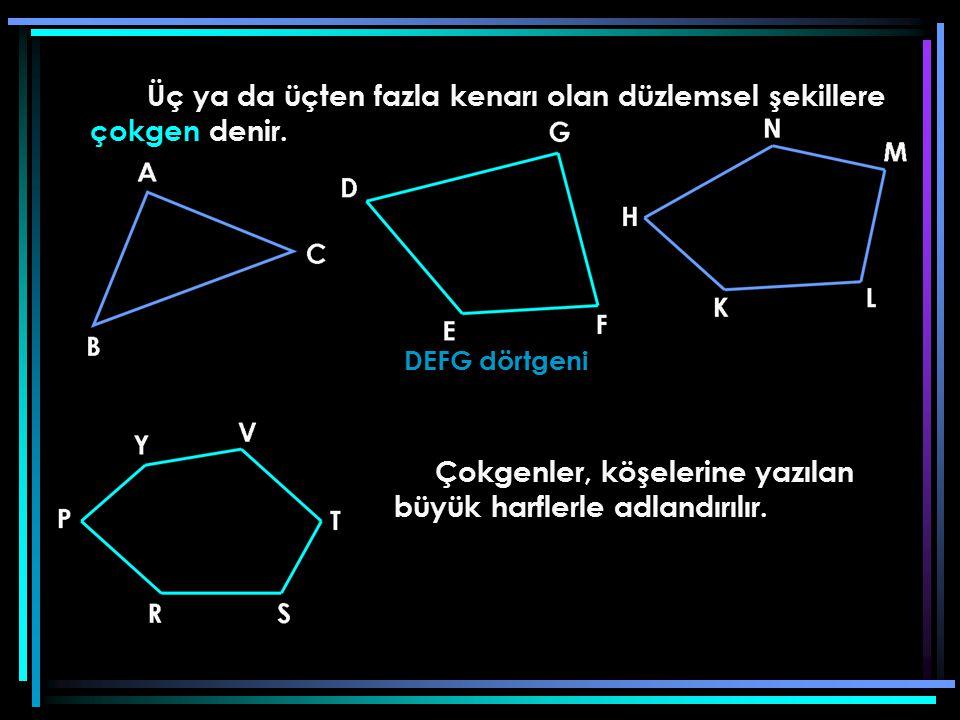 DEFG dörtgeni Çokgenler, köşelerine yazılan büyük harflerle adlandırılır.