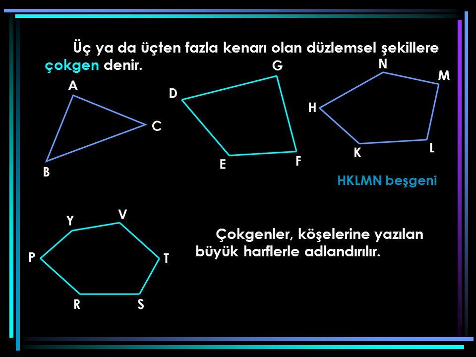 Üç ya da üçten fazla kenarı olan düzlemsel şekillere çokgen denir. HKLMN beşgeni Çokgenler, köşelerine yazılan büyük harflerle adlandırılır.