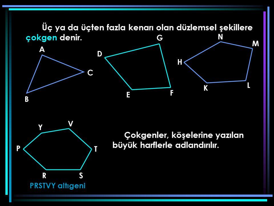 Üç ya da üçten fazla kenarı olan düzlemsel şekillere çokgen denir. PRSTVY altıgeni Çokgenler, köşelerine yazılan büyük harflerle adlandırılır.