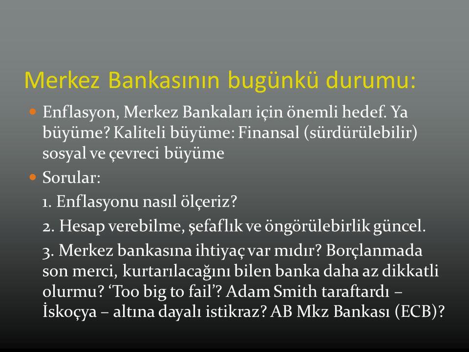 Merkez Bankasının bugünkü durumu: Enflasyon, Merkez Bankaları için önemli hedef.