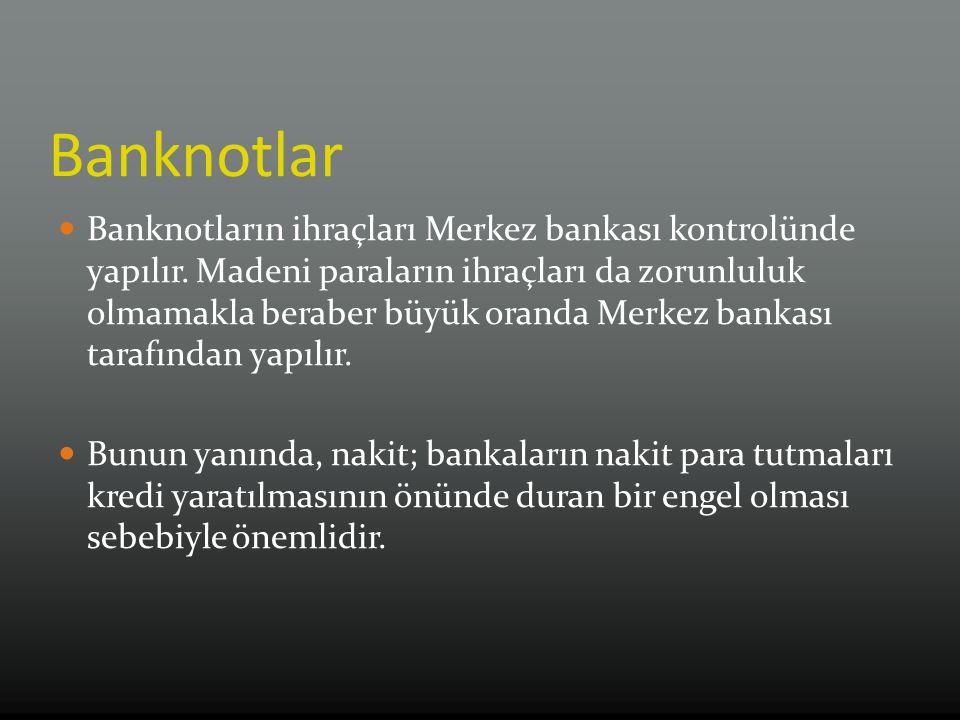 Banknotlar Banknotların ihraçları Merkez bankası kontrolünde yapılır.