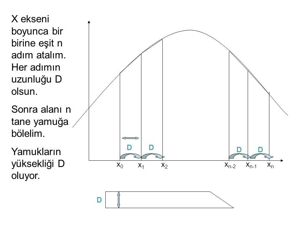 Her X i 'e karşılık gelen fonksiyon değeri Y i ise birinci yamuğun alanı A 1 = 0.5(Y 0 +Y 1 )D, ikincinin alanı A 2 = 0.5(Y 1 +Y 2 )D, gibi hesaplanır.