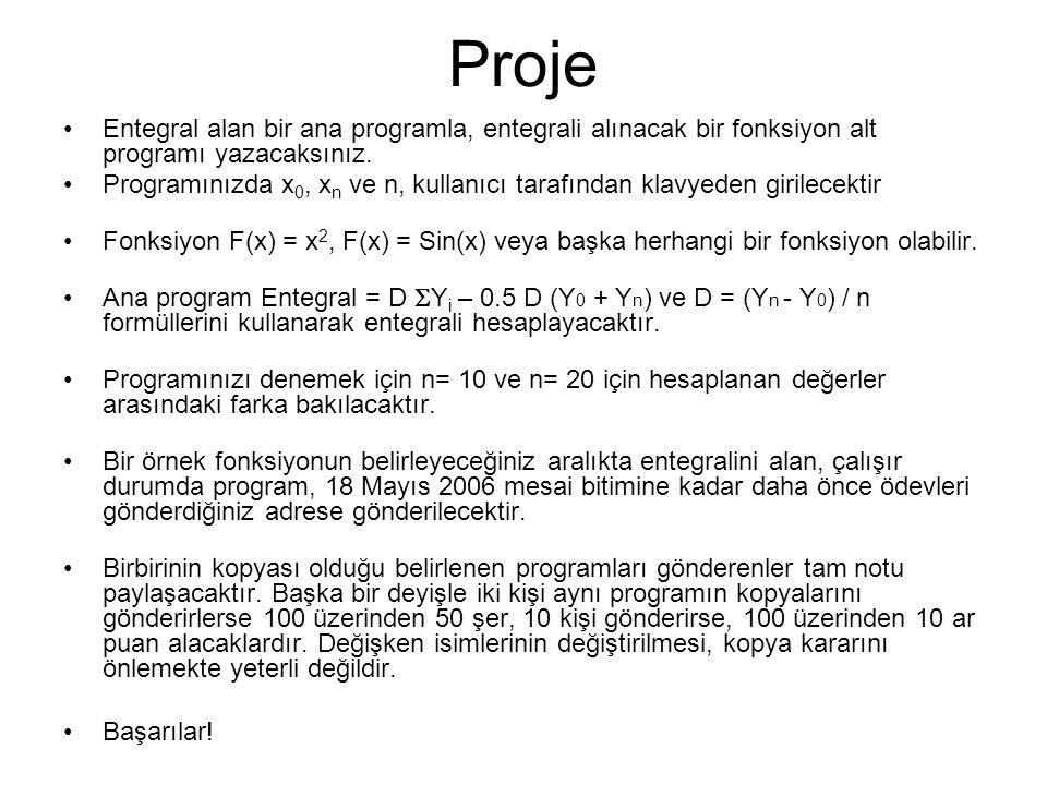Proje Entegral alan bir ana programla, entegrali alınacak bir fonksiyon alt programı yazacaksınız. Programınızda x 0, x n ve n, kullanıcı tarafından k