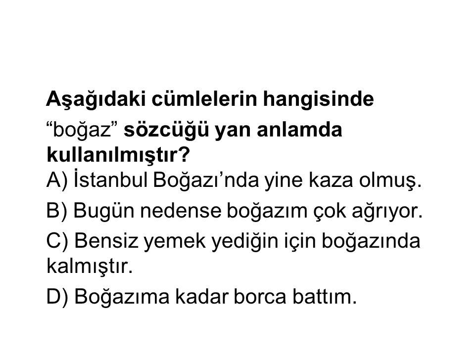 """Aşağıdaki cümlelerin hangisinde """"boğaz"""" sözcüğü yan anlamda kullanılmıştır? A) İstanbul Boğazı'nda yine kaza olmuş. B) Bugün nedense boğazım çok ağrıy"""