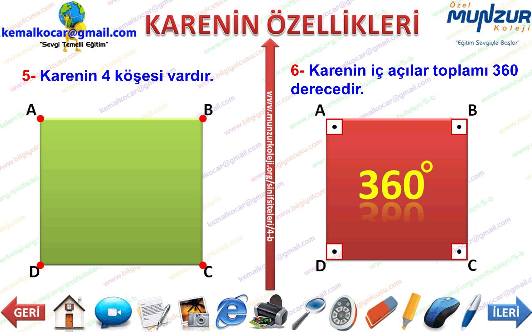 5- Karenin 4 köşesi vardır. 6- Karenin iç açılar toplamı 360 derecedir.