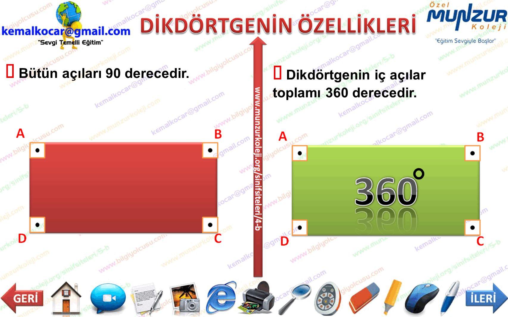  Dikdörtgenin iç açılar toplamı 360 derecedir.  Bütün açıları 90 derecedir.
