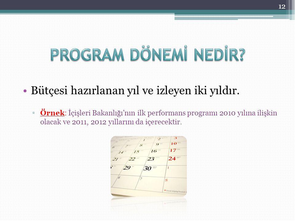 Bütçesi hazırlanan yıl ve izleyen iki yıldır. ▫Örnek: İçişleri Bakanlığı'nın ilk performans programı 2010 yılına ilişkin olacak ve 2011, 2012 yılların