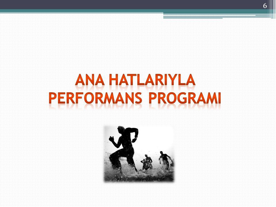 17 Öncelikli Stratejik Amaç ve Hedeflerin Belirlenmesi Üst Yönetici Başkanlığında Harcamacı Birimler Bakanlığın Performans Hedef ve Göstergelerinin Belirlenmesi Üst Yönetici Başkanlığında Harcamacı Birimler Bakanlık Birimlerinin Kendi Performans Programlarını Hazırlamaları Harcamacı Birimler İdare (Bakanlık) Performans Programının Hazırlanması SGB