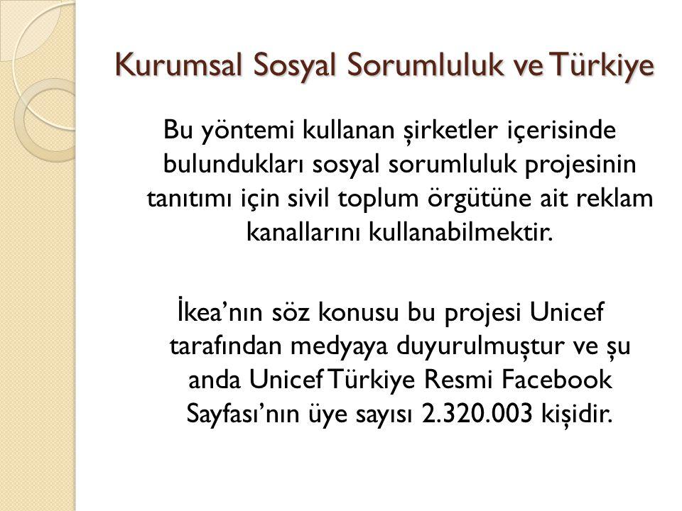 Kurumsal Sosyal Sorumluluk ve Türkiye Bu yöntemi kullanan şirketler içerisinde bulundukları sosyal sorumluluk projesinin tanıtımı için sivil toplum ör