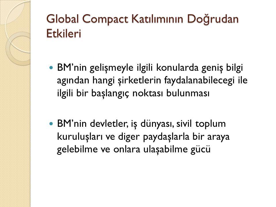 Global Compact Katılımının Do ğ rudan Etkileri BM'nin gelişmeyle ilgili konularda geniş bilgi agından hangi şirketlerin faydalanabilecegi ile ilgili b