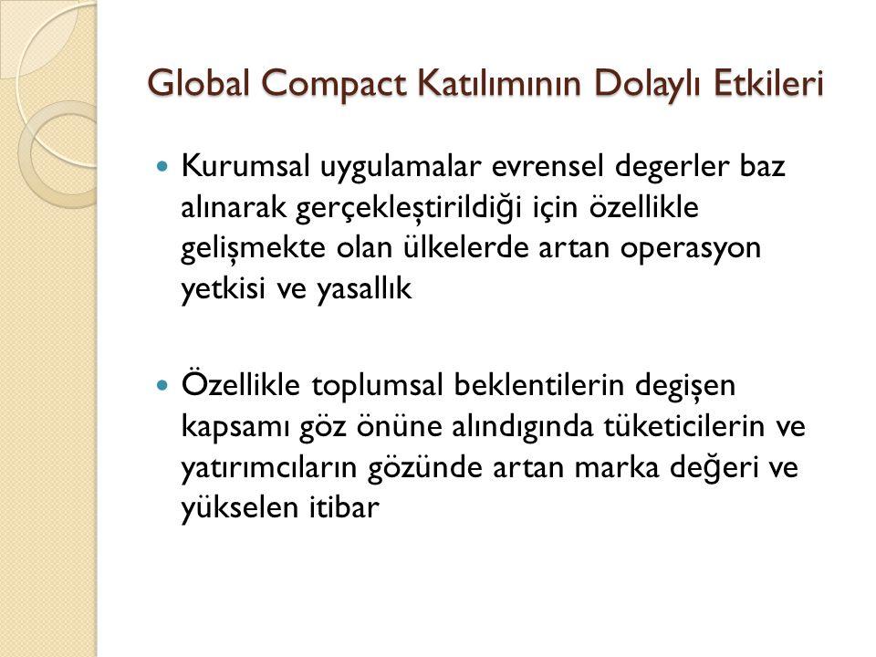 Global Compact Katılımının Dolaylı Etkileri Kurumsal uygulamalar evrensel degerler baz alınarak gerçekleştirildi ğ i için özellikle gelişmekte olan ül