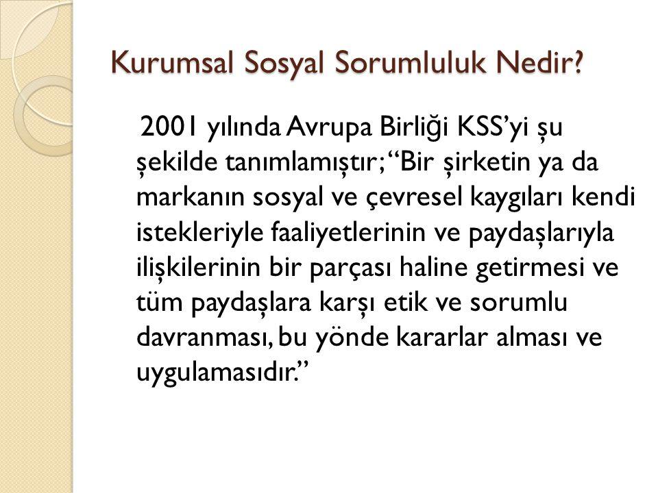 """Kurumsal Sosyal Sorumluluk Nedir? 2001 yılında Avrupa Birli ğ i KSS'yi şu şekilde tanımlamıştır; """"Bir şirketin ya da markanın sosyal ve çevresel kaygı"""