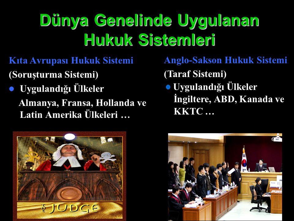 Dünya Genelinde Uygulanan Hukuk Sistemleri Kıta Avrupası Hukuk Sistemi (Soruşturma Sistemi) Uygulandığı Ülkeler Almanya, Fransa, Hollanda ve Latin Ame