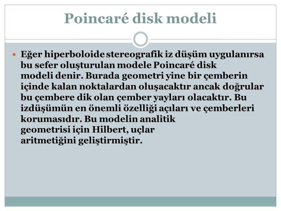 Poincaré disk modeli Eğer hiperboloide stereografik iz düşüm uygulanırsa bu sefer oluşturulan modele Poincaré disk modeli denir. Burada geometri yine