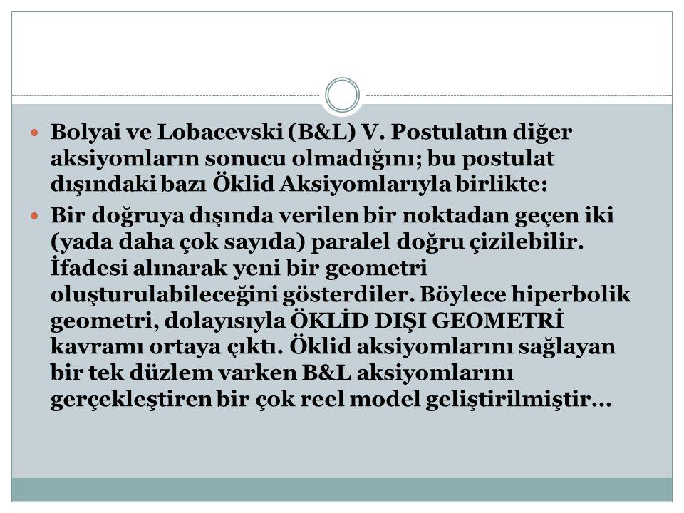 Bolyai ve Lobacevski (B&L) V. Postulatın diğer aksiyomların sonucu olmadığını; bu postulat dışındaki bazı Öklid Aksiyomlarıyla birlikte: Bir doğruya d