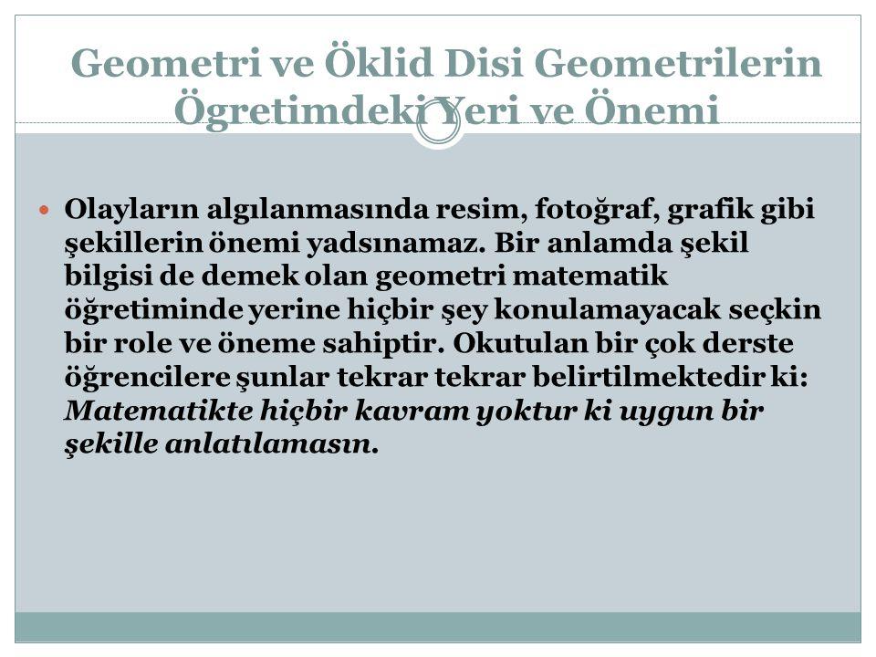 Geometri ve Öklid Disi Geometrilerin Ögretimdeki Yeri ve Önemi Olayların algılanmasında resim, fotoğraf, grafik gibi şekillerin önemi yadsınamaz. Bir