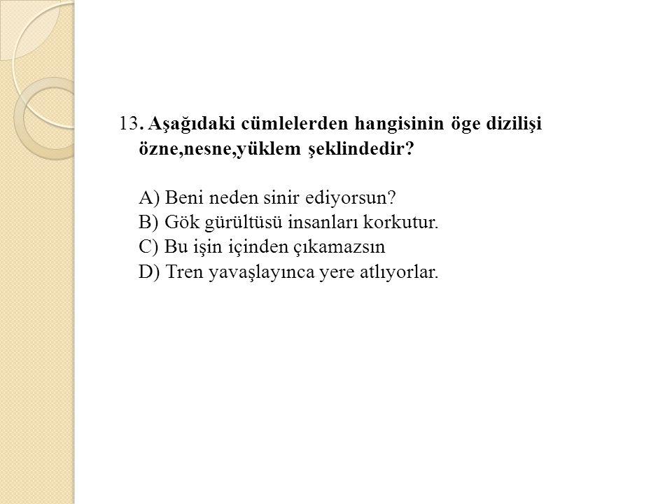 13. Aşağıdaki cümlelerden hangisinin öge dizilişi özne,nesne,yüklem şeklindedir? A) Beni neden sinir ediyorsun? B) Gök gürültüsü insanları korkutur. C