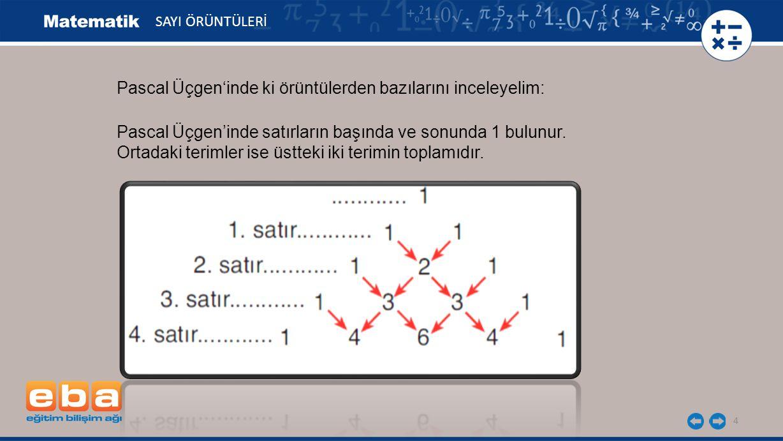 4 Pascal Üçgen'inde ki örüntülerden bazılarını inceleyelim: SAYI ÖRÜNTÜLERİ Pascal Üçgen'inde satırların başında ve sonunda 1 bulunur. Ortadaki teriml