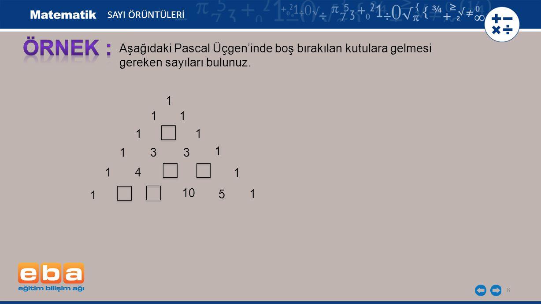 8 1 1 1 1 1 1 33 1 1 4 1 1 1 10 5 Aşağıdaki Pascal Üçgen'inde boş bırakılan kutulara gelmesi gereken sayıları bulunuz.
