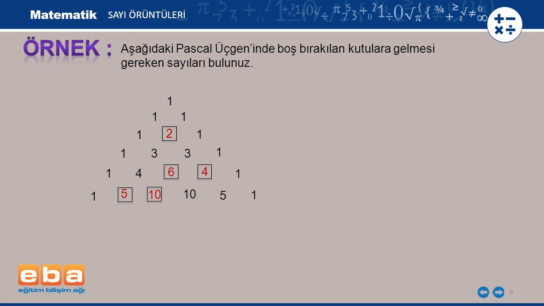 9 1 SAYI ÖRÜNTÜLERİ 1 1 1 1 1 33 1 1 4 1 1 1 10 5 Aşağıdaki Pascal Üçgen'inde boş bırakılan kutulara gelmesi gereken sayıları bulunuz. 2 6 4 5 10