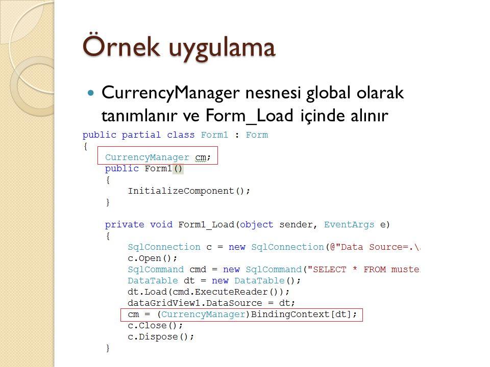 Örnek uygulama CurrencyManager nesnesi global olarak tanımlanır ve Form_Load içinde alınır