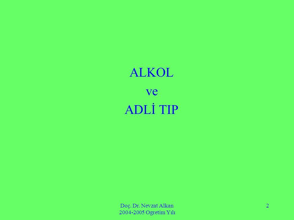 Doç. Dr. Nevzat Alkan 2004-2005 Ogretim Yılı 2 ALKOL ve ADLİ TIP