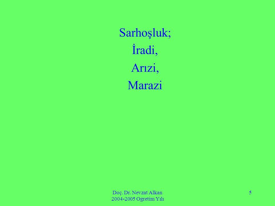 Doç. Dr. Nevzat Alkan 2004-2005 Ogretim Yılı 5 Sarhoşluk; İradi, Arızi, Marazi